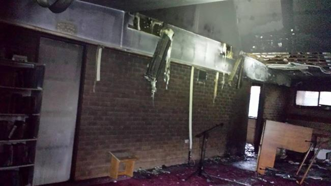 The photo shows damage caused by an arson attack at the Toowoomba Mosque in Australia on April 17, 2015.