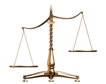 Royalty-free 3d law clipart graphic picture of brass scales of justice off balance, symbolizing injustice, over white.