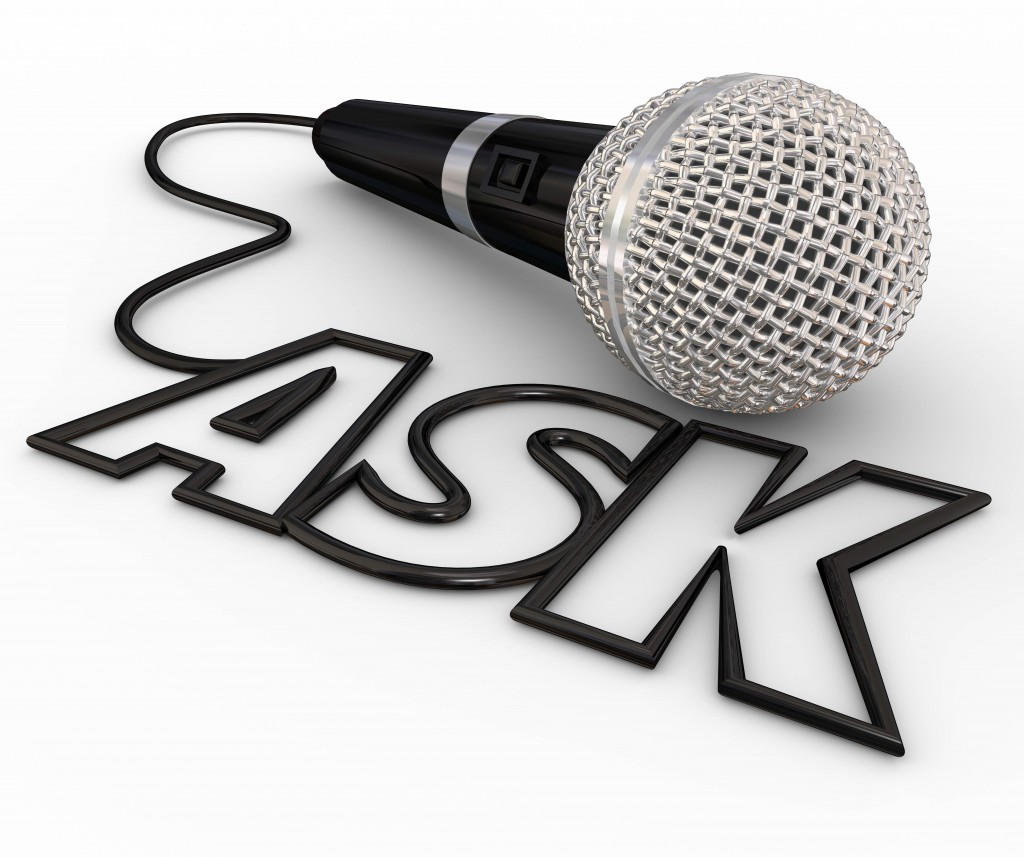 Ask word spelled out in letters formed by a microphone cord to illustrate questions and answers, interviews, reporting and a podcast or radio interview